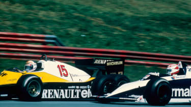 Alain Prost in the Renault RE40 and Nelson Piquet in the Brabham-BMW (1983)