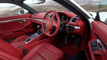 2013 Porsche Cayman red leather interior steering wheel
