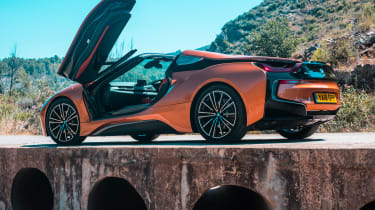 BMW i8 Roadster rear three quarters