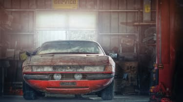 Ferrari Daytona alloy barn find - front