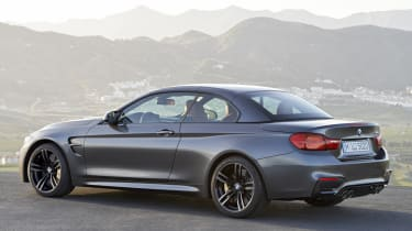 BMW M4 Convertible grey roof up closed