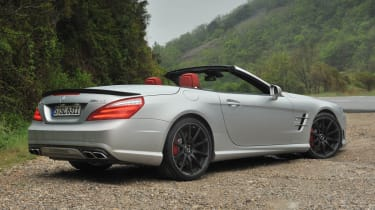 Mercedes SL63 AMG roof down silver
