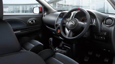 Nissan March Nismo interior bucket seat Alcantara steering wheel