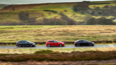 Mercedes-AMG A35 saloon vs Cupra Leon R Abt vs BMW M135i - 3 car tracking