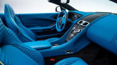 Aston Martin Vanquish Volante bright blue interior