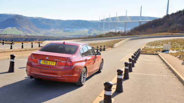 BMW 320d at the Milau Viaduct