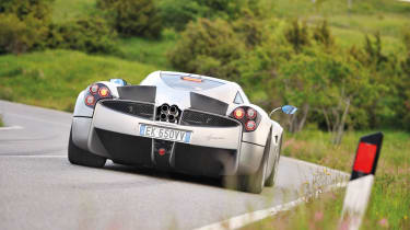 Pagani Huayra in the Italian hills rear flaps up