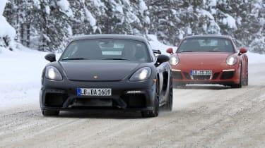 Porsche 718 Cayman GT4 spy - front