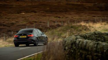 Mercedes-AMG A35 saloon vs Cupra Leon R Abt vs BMW M135i - A35 cornering