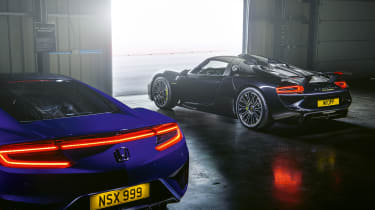 Honda NSX and Porsche 918 – rear quarter