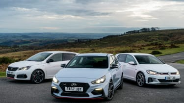 i30N group test (Golf GTI and Peugeot 308 GTI) - front