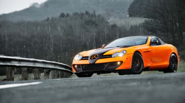 McLaren Edition Mercedes SLR front quarter, bright orange