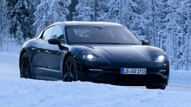 Porsche Mission E – winter testing – front quarter