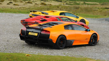 Lamborghini V12 group test Wales - triple rear