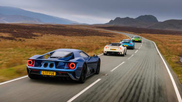 Road-legal supercars – Ford GT, Porsche 911 GT2 RS, Mercedes-AMG GT R and Lotus Exige Cup 430