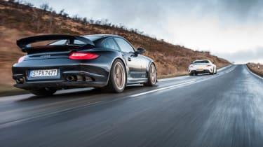 Porsche 911 GT2 RS v Mercedes SLS Black