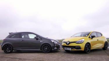 Renault Clio 200 vs Vauxhall Corsa VXR track video