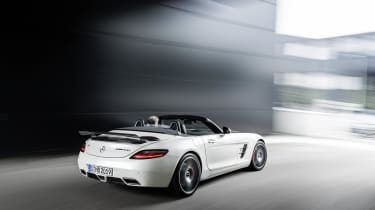 Mercedes SLS AMG GT Final Edition Roadster white roof down