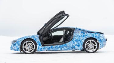 BMW i8 hybrid sports car side profile doors up