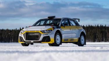 Audi A1 Quattro WRC2 rally car - front quarter