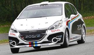 Peugeot 208 R2 rally car sideways