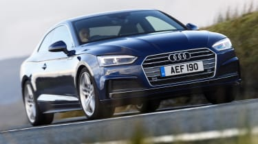 Audi A5 coupe blue - front driving