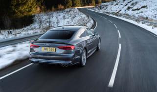 Audi S5 Sportback rear three quarters tracking