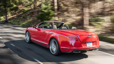 2013 Bentley Continental GT Speed Convertible red rear view roof down