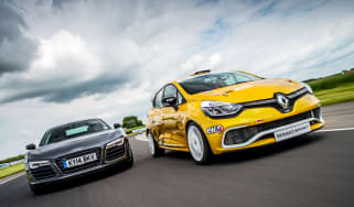 Audi R8 Plus vs Renault Clio Cup track battle video