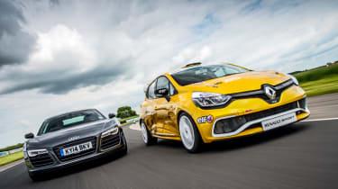 Audi R8 Plus vs Renault Clio Cup track battle video