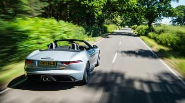 Jaguar F-type 400 Sport rear three quarters tracking