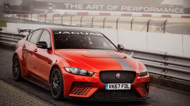 Jaguar XE SV Project 8 at the Nurburgring – front quarter