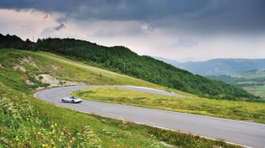 Pagani Huayra in the Italian hills sideways corner