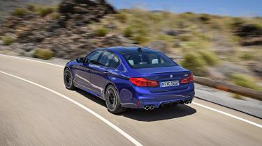 BMW M5 F90 - Blue rear quarter dynamic