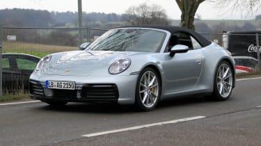 Porsche 911 Cabrio spy - front quarter