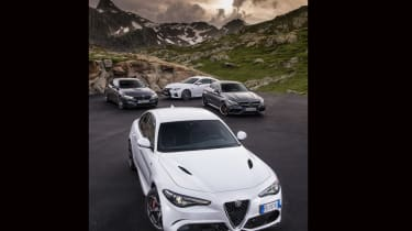 M4 vs C63 vs RC F vs Giulia QV in the Alps cover shot