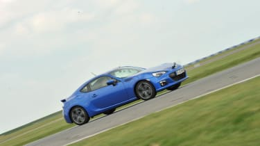 Blue Subaru BRZ coupe on track at Bedford
