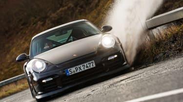Porsche 911 GT2 RS & Mercedes-Benz SLS AMG Black Series - puddle front