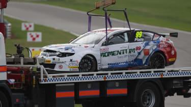 BTCC Snetterton MG6 Jason Plato crash damage