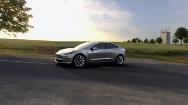 Tesla Model 3 silver pre prod