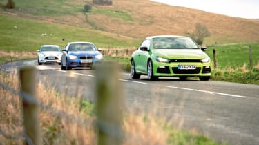 BMW M135i vs Renaultsport Megane 265 Cup, VW Scirocco R and Ford Focus ST on the road