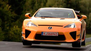 Lexus LFA Nurburgring Edition jumping at the Nurburgring
