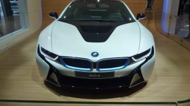 BMW i8 hybrid supercar white front