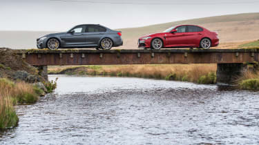 BMW M3 Competition Package & Alfa Romeo Giulia Quadrifoglio – bridge