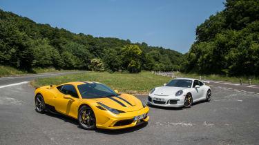 Ferrari 458 Speciale and 911 GT3 - static