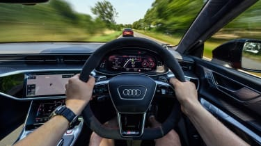 Audi RS7 vs M8 Comp GC - interior driving