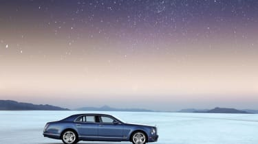 Bonneville salt flats at night with Bentley Mulsanne