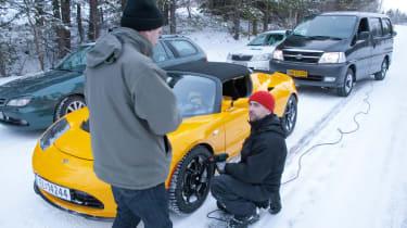 Tesla on ice, heat gunning the brakes