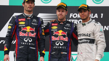A tense atmosphere on the podium between Webber and Vettel