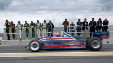 Nigel Mansell drives F1 car at Hethel